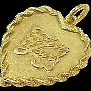 Vintage Large Charm HEART Forever Yours 14k Gold