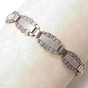 "WWII Sterling Silver ""Forget Me Not"" Sweetheart Bracelet"