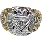 Free Mason / Scottish Rite / Masonic Ring Diamond Accent