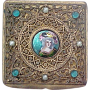 French Trinket Box With Miniature Portrait, Bronze
