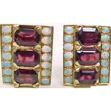 Vintage Clip Back Earrings 14k Gold, Garnet & Opal