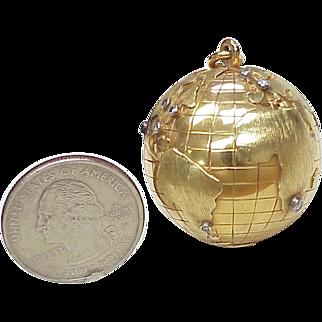 HUGE 18k & Diamond GLOBE Charm circa 1950-60's, Travel