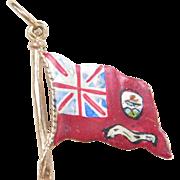 Vintage 9k Gold Charm  BERMUDA Flag, Enameled