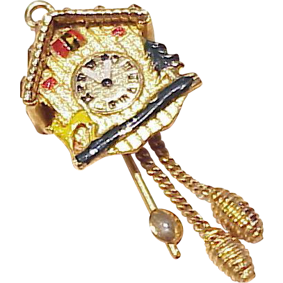 Vintage 14k gold mechanical charm cuckoo clock colorful enameling from arnoldjewelers on ruby lane - Colorful cuckoo clock ...