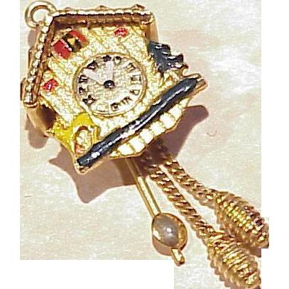 Vintage 14k Gold Mechanical Charm Cuckoo Clock Colorful Enameling From Arnoldjewelers On Ruby Lane