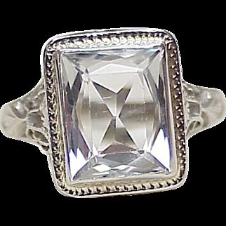 Art Deco GOSHENITE 4 Carat Ring 18k White Gold Filigree