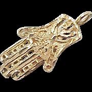 Vintage 14k Gold Charm Hamesh, Hand of Fatima