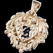 "Vintage 14k Gold Charm Hawaiian HEART Enamel Accent ""B"" Monogram"