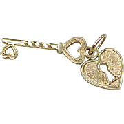 Vintage 14k Gold Charm, Romantic Heart Lock and Key
