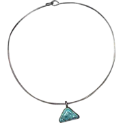Navajo Necklace Turquoise & Sterling Silver by Cecil Henry