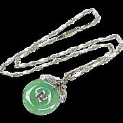 Vintage Jade & Diamond Necklace 14k White Gold 1960's