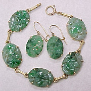 Carved Jade Set, Earrings & Bracelet, By SORET circa 1920's 14k Gold