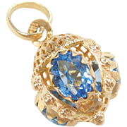 Vintage 18k Gold Charm Jeweled Ornate Trinket Faux Blue Topaz