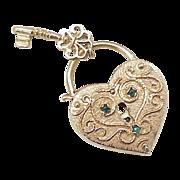 Large 14k Gold HEART Lock & Key Charm Jeweled Accent