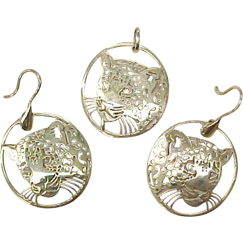 Vintage European 9k Gold Pendant & Earring Set LEOPARD