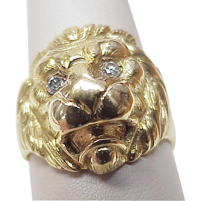 Majestic LION Head Ring 18k Gold Diamond Eyes Hand Crafted from