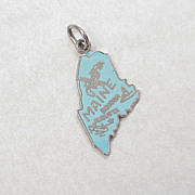 Vintage Sterling Silver Charm ~ State MAINE Enameled