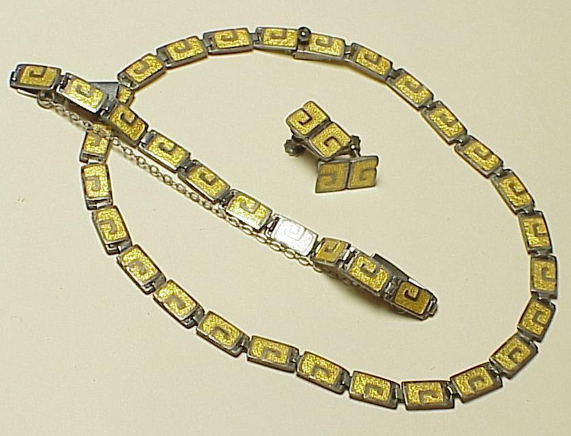 Vintage Margot De Taxco Enameled Set Necklace, Bracelet & Earrings