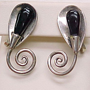 Vintage Sterling Silver Screw Back Earrings Modernist Floral TAXCO