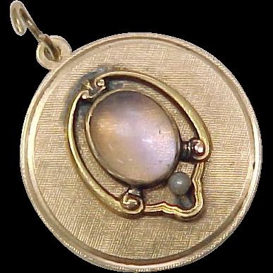 Vintage 1930-40's MOONSTONE Charm / Pendant 14K Gold