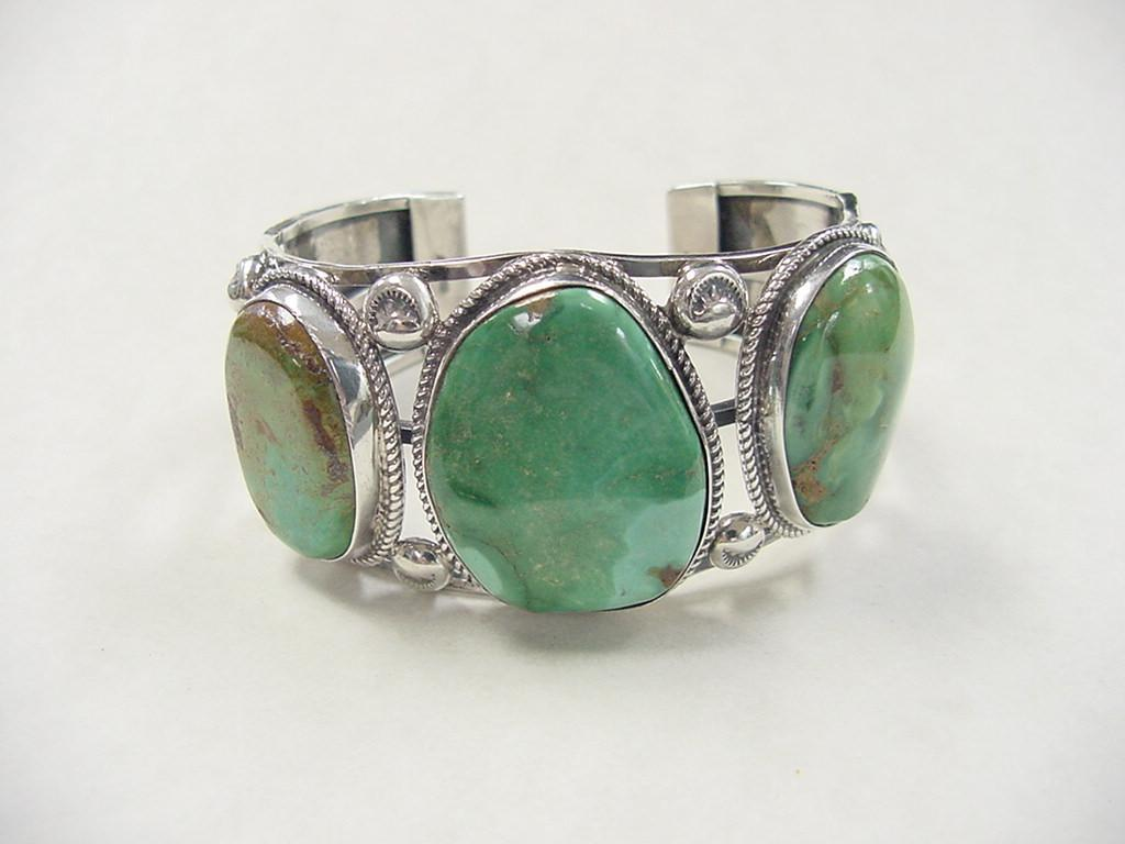 Navajo Gents Cuff Bracelet Big Green Turquoise Sterling