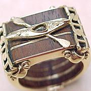 One of A Kind Gents Ring TEAK & 14K Gold KAYAK , Custom
