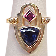 Convertible Ring / Pendant Tanzanite & Pink Tourmaline 14k Gold