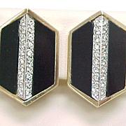 Vintage Earrings Onyx & Diamond 14k Yellow & White Gold