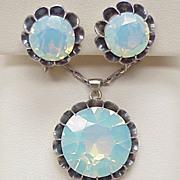 Vintage Necklace Earring Set, Screw Back Opalescent Glass