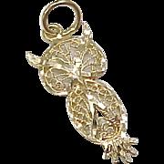 Vintage 14k Gold Charm, Filigree OWL