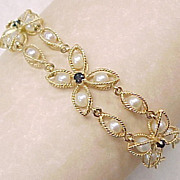 Vintage Bracelet 14k Gold Cultured Pearl & Sapphire