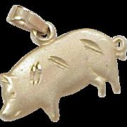Vintage 14k Gold Charm ~ PIG or Hog, Barnyard Animal