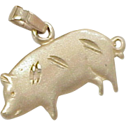 Vintage 14k Gold Charm ~ PIG or Hog, Barnyard Animal