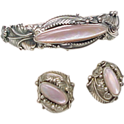 Bracelet & Earring Set Sterling Silver & Pink Mother of Pearl