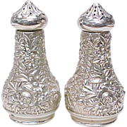 Vintage Sterling Silver Salt & Pepper by S. Kirk & Son REPOUSSE