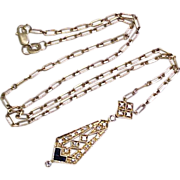 Victorian Revival Lavaliere Necklace Diamond & Sapphire 14k Gold