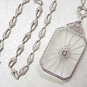 Art Deco Rock Crystal & Diamond Necklace 14k White Gold