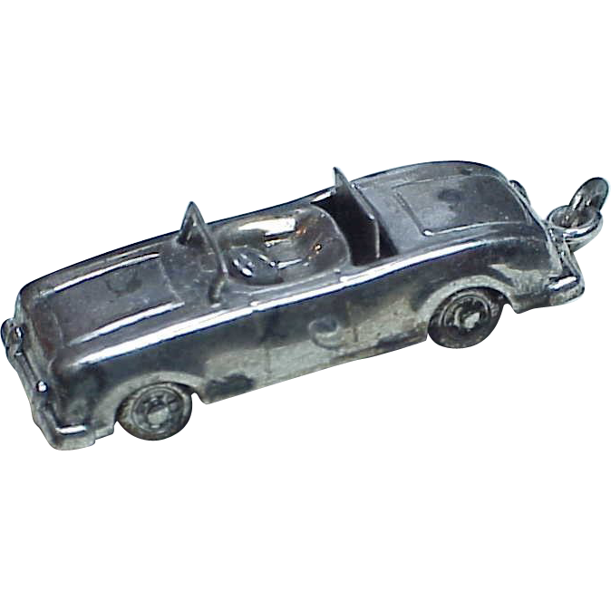 Vintage Sterling Silver Charm CONVERTIBLE Car Moving Top & Wheels