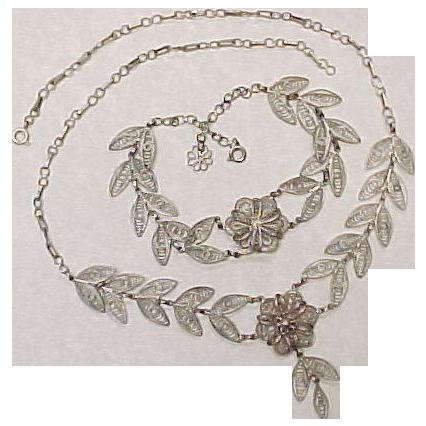 Vintage Hand Crafted Sterling Silver Filigree Necklace & Bracelet Set