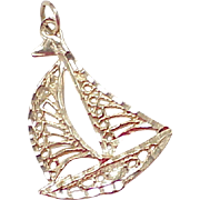 Vintage 14k Gold Filigree Charm ~ Sail Boat, Nautical