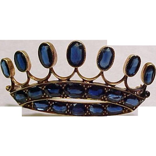 Impressive 13 Carat SAPPHIRE Crown Brooch 14k Gold