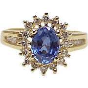 Vintage Sapphire & Diamond Ring 14k Gold 2.21 ctw