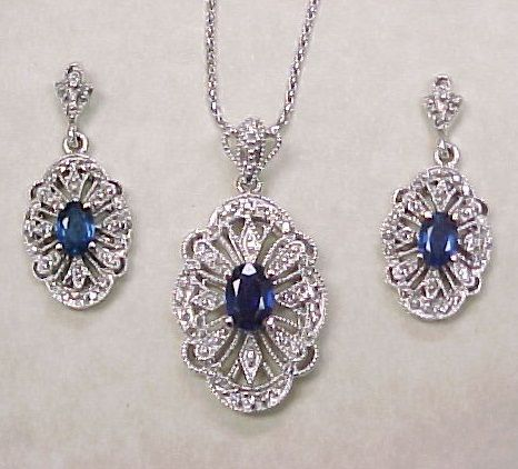 Sapphire & Diamond Necklace & Earring Set 14k White Gold Filigree