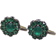 Vintage Screw Back Earrings Sterling Silver & Faux Emerald