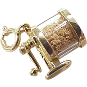 Vintage Moving 14k Gold Charm, Pencil Sharpener