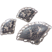Siam Sterling Silver Niello Clip Earrings & Brooch