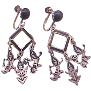 Vintage SIAM Sterling Silver Screw Back Earrings
