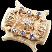 Edwardian Era 14k SLIDE Bracelet Charm ~ Large Size Sapphire & Diamond