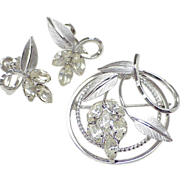 Vintage Star-Art Brooch & Earring Set Sterling Silver & Rhinestone