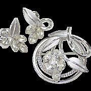 Vintage Star-Art Brooch & Earring Set Sterling Silver & Rhinestone